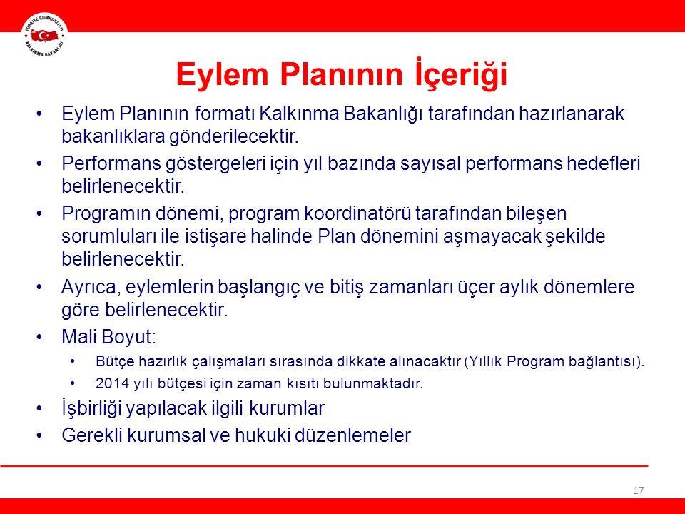 17 Eylem Planının İçeriği Eylem Planının formatı Kalkınma Bakanlığı tarafından hazırlanarak bakanlıklara gönderilecektir.