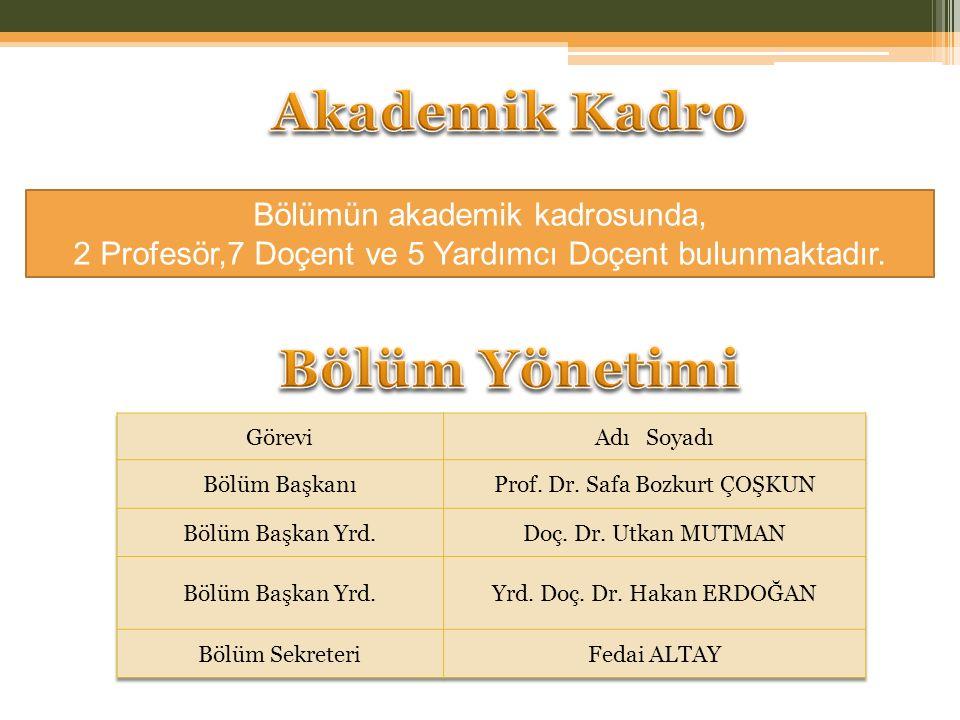 Bölümün akademik kadrosunda, 2 Profesör,7 Doçent ve 5 Yardımcı Doçent bulunmaktadır.