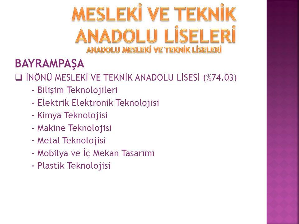 BAYRAMPAŞA  İNÖNÜ MESLEKİ VE TEKNİK ANADOLU LİSESİ (%74.03) - Bilişim Teknolojileri - Elektrik Elektronik Teknolojisi - Kimya Teknolojisi - Makine Teknolojisi - Metal Teknolojisi - Mobilya ve İç Mekan Tasarımı - Plastik Teknolojisi