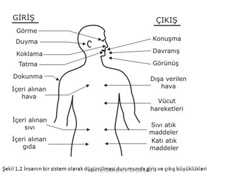 BMM 311 DERS NOTU 1 - ALİ IŞIN, 2014 Şekil 1.2 İnsanın bir sistem olarak düşünülmesi durumunda giriş ve çıkış büyüklükleri