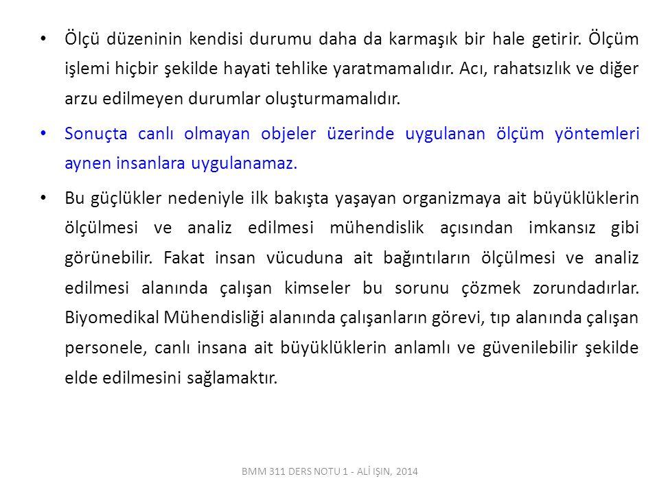 BMM 311 DERS NOTU 1 - ALİ IŞIN, 2014 Ölçü düzeninin kendisi durumu daha da karmaşık bir hale getirir.