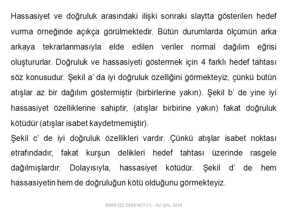 BMM 311 DERS NOTU 1 - ALİ IŞIN, 2014 Hassasiyet ve doğruluk arasındaki ilişki sonraki slaytta gösterilen hedef vurma örneğinde açıkça görülmektedir. B