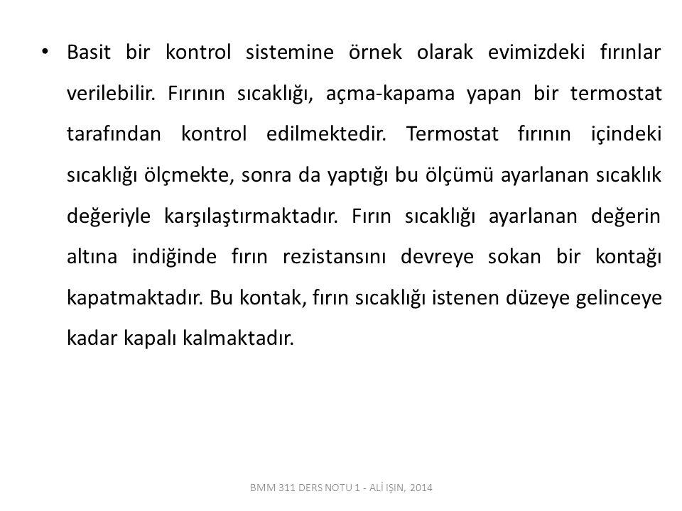 BMM 311 DERS NOTU 1 - ALİ IŞIN, 2014 Basit bir kontrol sistemine örnek olarak evimizdeki fırınlar verilebilir.