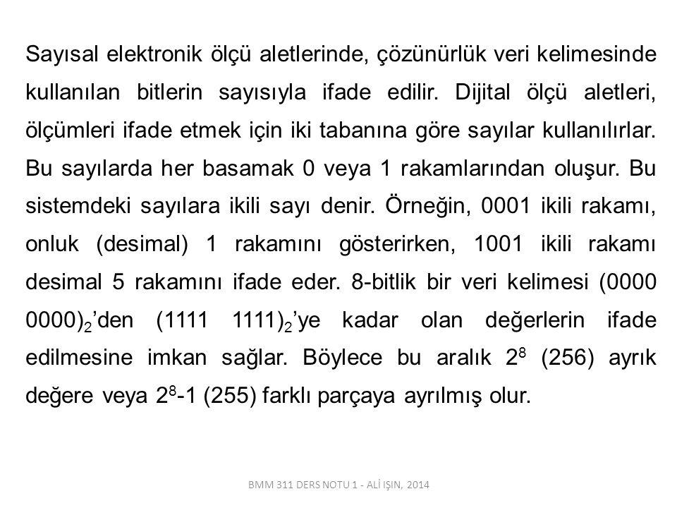 BMM 311 DERS NOTU 1 - ALİ IŞIN, 2014 Sayısal elektronik ölçü aletlerinde, çözünürlük veri kelimesinde kullanılan bitlerin sayısıyla ifade edilir. Diji