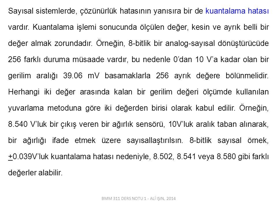 BMM 311 DERS NOTU 1 - ALİ IŞIN, 2014 Sayısal sistemlerde, çözünürlük hatasının yanısıra bir de kuantalama hatası vardır. Kuantalama işlemi sonucunda ö