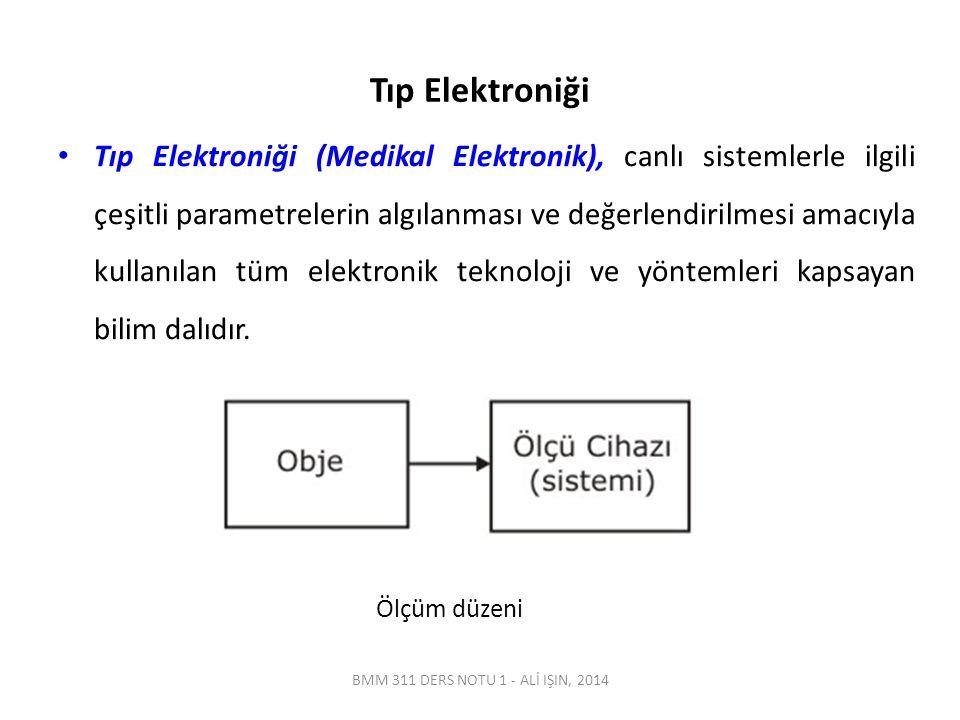BMM 311 DERS NOTU 1 - ALİ IŞIN, 2014 Tıp Elektroniği Tıp Elektroniği (Medikal Elektronik), canlı sistemlerle ilgili çeşitli parametrelerin algılanması ve değerlendirilmesi amacıyla kullanılan tüm elektronik teknoloji ve yöntemleri kapsayan bilim dalıdır.