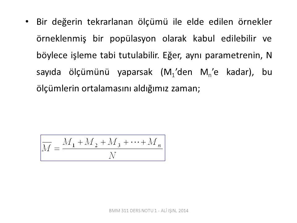 BMM 311 DERS NOTU 1 - ALİ IŞIN, 2014 Bir değerin tekrarlanan ölçümü ile elde edilen örnekler örneklenmiş bir popülasyon olarak kabul edilebilir ve böylece işleme tabi tutulabilir.