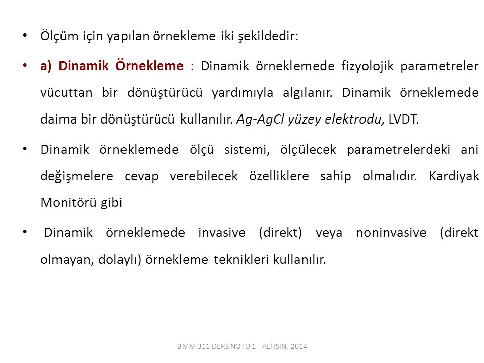 BMM 311 DERS NOTU 1 - ALİ IŞIN, 2014