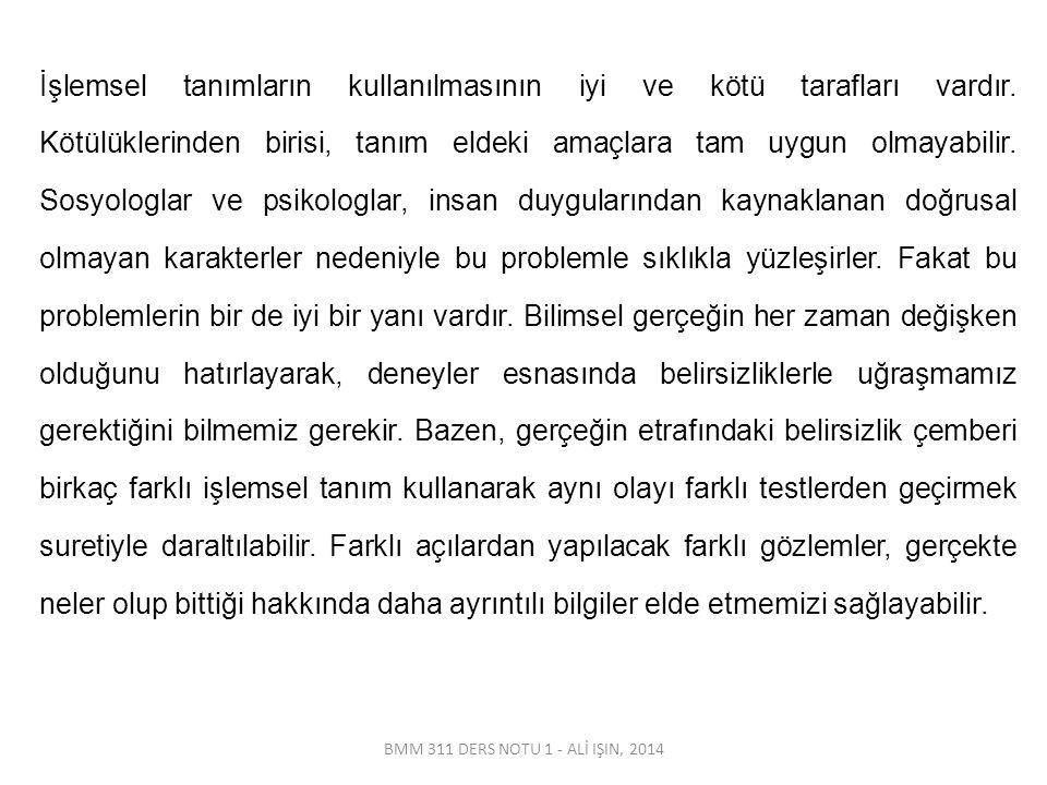 BMM 311 DERS NOTU 1 - ALİ IŞIN, 2014 İşlemsel tanımların kullanılmasının iyi ve kötü tarafları vardır. Kötülüklerinden birisi, tanım eldeki amaçlara t