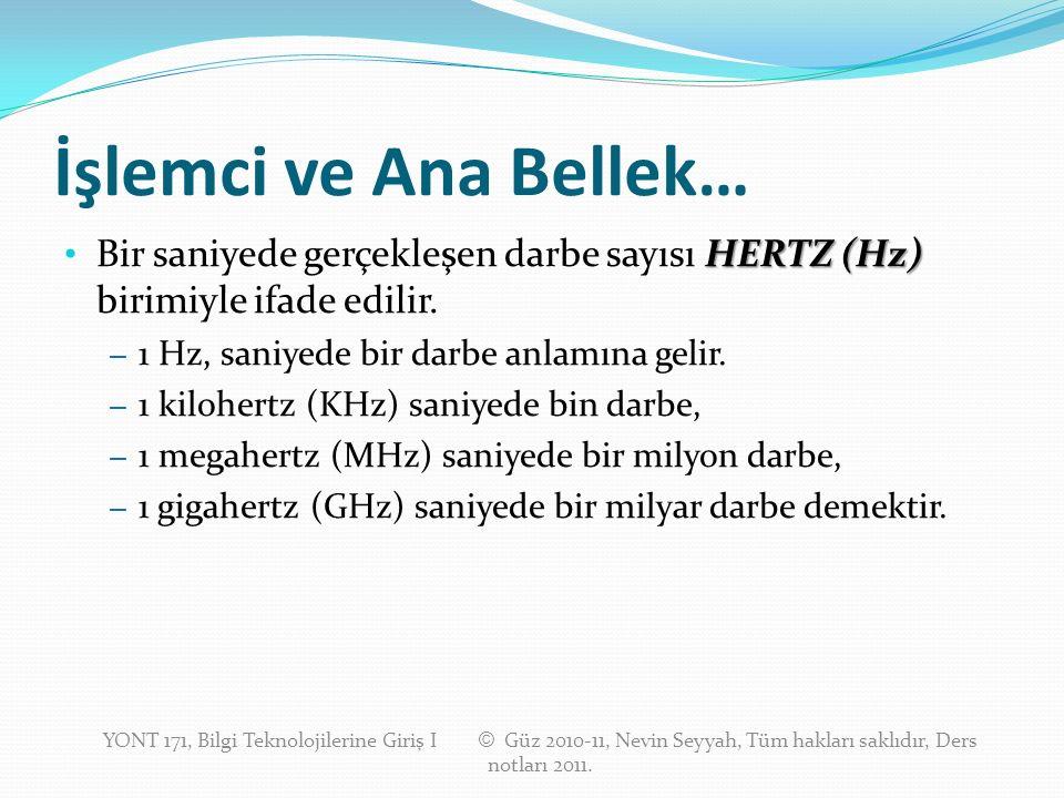 İşlemci ve Ana Bellek… HERTZ (Hz) Bir saniyede gerçekleşen darbe sayısı HERTZ (Hz) birimiyle ifade edilir. – 1 Hz, saniyede bir darbe anlamına gelir.