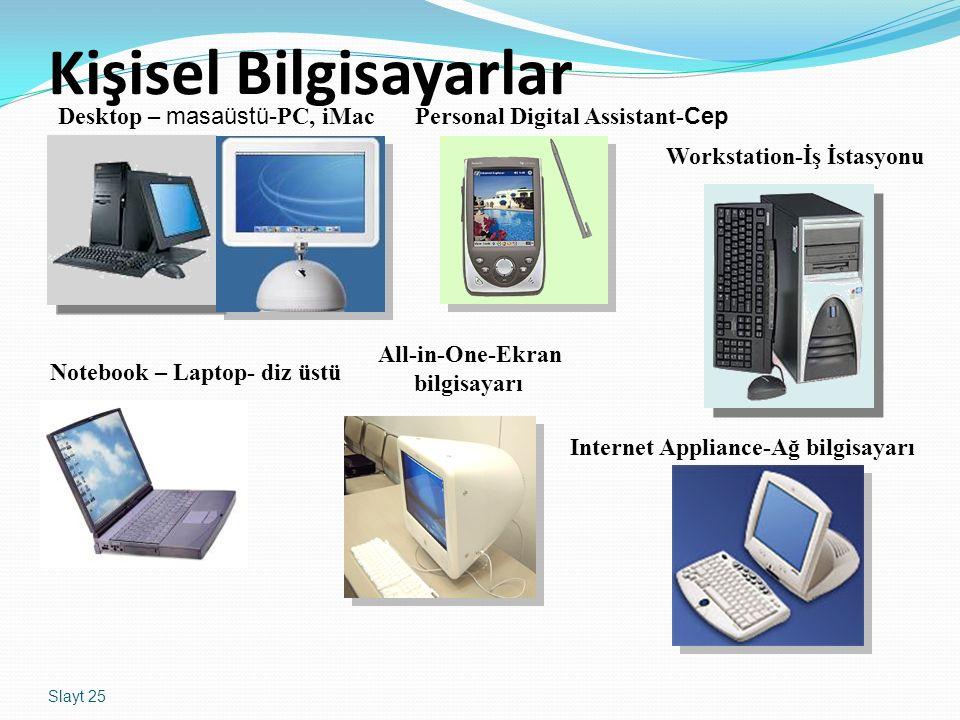 Slayt 25 Kişisel Bilgisayarlar Desktop – masaüstü- PC, iMacPersonal Digital Assistant- Cep Workstation-İş İstasyonu Notebook – Laptop- diz üstü All-in-One-Ekran bilgisayarı Internet Appliance-Ağ bilgisayarı