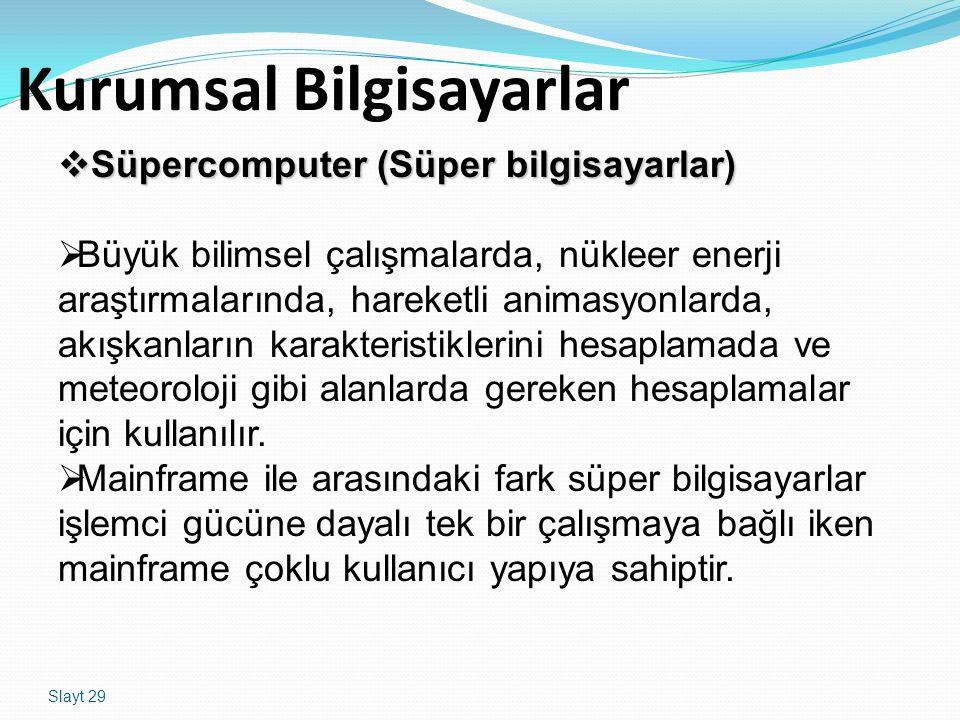 Slayt 29 Kurumsal Bilgisayarlar  Süpercomputer (Süper bilgisayarlar)  Büyük bilimsel çalışmalarda, nükleer enerji araştırmalarında, hareketli animas