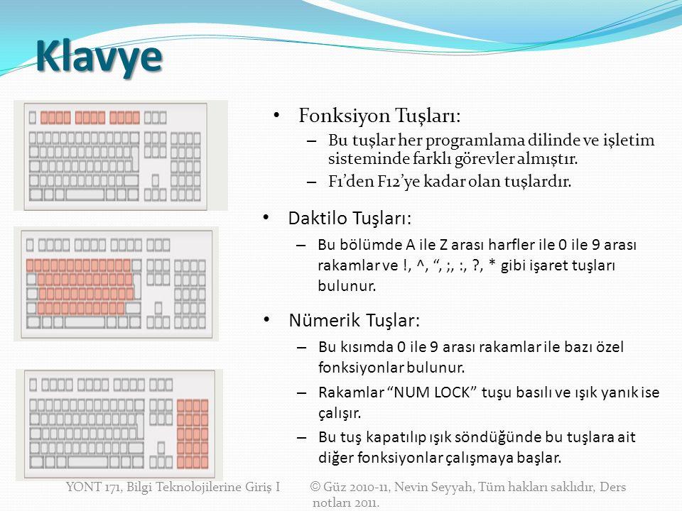 Klavye Fonksiyon Tuşları: – Bu tuşlar her programlama dilinde ve işletim sisteminde farklı görevler almıştır.