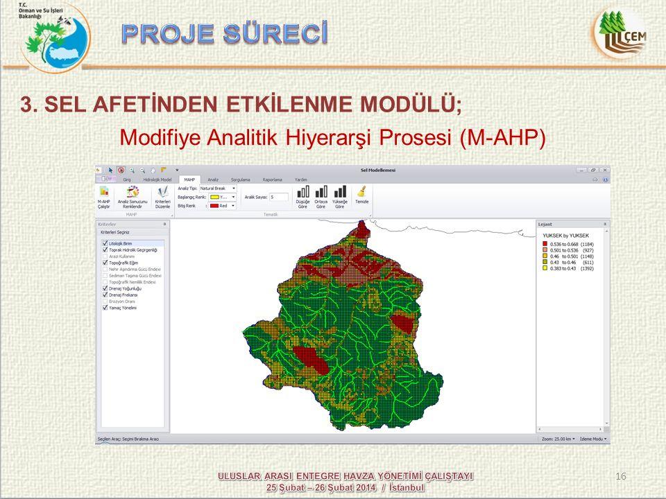 16 Modifiye Analitik Hiyerarşi Prosesi (M-AHP) 3. SEL AFETİNDEN ETKİLENME MODÜLÜ;