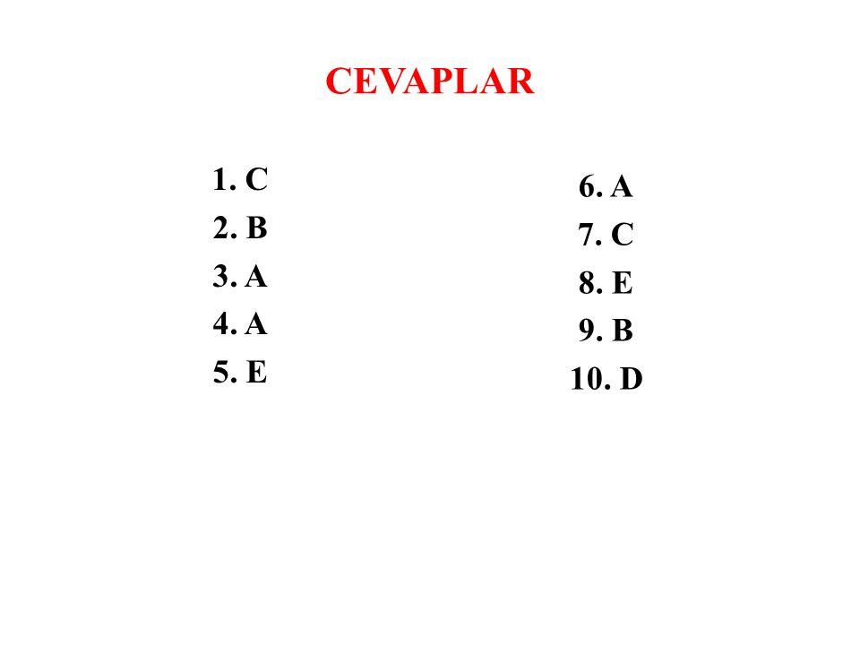 CEVAPLAR 1. C 2. B 3. A 4. A 5. E 6. A 7. C 8. E 9. B 10. D