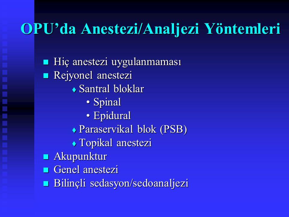Bazı Ülkelerde Uygulanan Anestezi Teknikleri İngiltere İngiltere  Bilinçli sedasyon (% 48.3)  Genel anestezi (% 29.3) Almanya Almanya Genel (% 50) ve diğer anestezi yöntemleri (% 50) Genel (% 50) ve diğer anestezi yöntemleri (% 50) ABD ABD  Bilinçli sedasyon (% 95) Eur J Anaesthesiol 1999; 225 J Assist Reprod Genet 1997; 145 Fertility 1995; 146