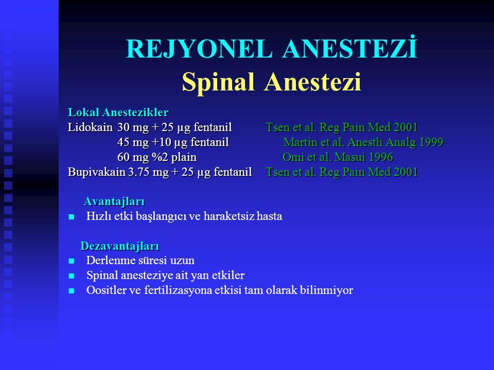 OPU'da Anestezi/Analjezi Yöntemleri Hiç anestezi uygulanmaması Hiç anestezi uygulanmaması Rejyonel anestezi Rejyonel anestezi  Santral bloklar Spinal