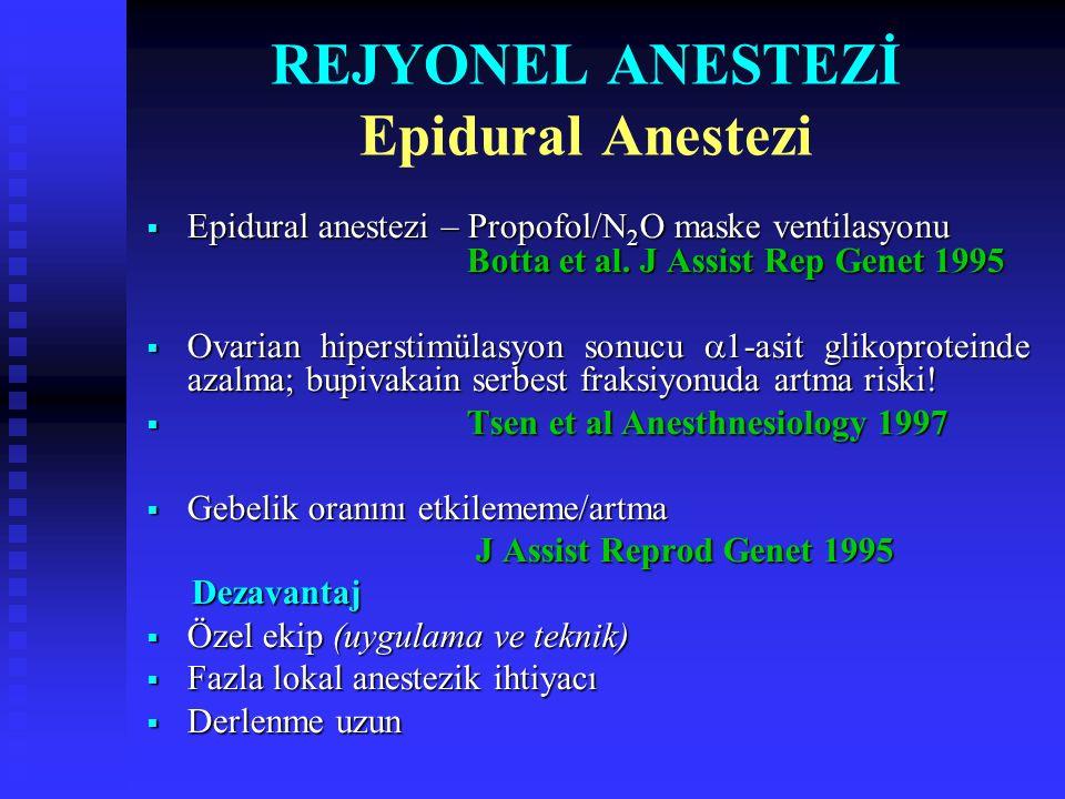REJYONEL ANESTEZİ Spinal Anestezi Lokal Anestezikler Lidokain 30 mg + 25 µg fentanil Tsen et al.