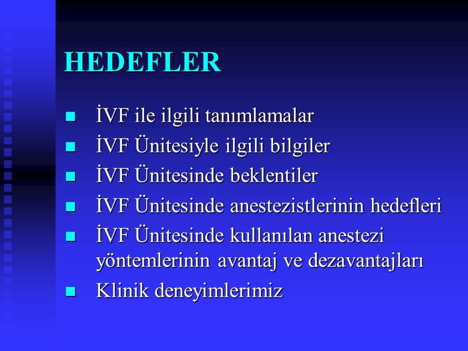 İN VİTRO FERTİLİZASYONDA (İVF) ANESTEZİ Doç. Dr. Berrin Günaydın Anesteziyoloji ve Reanimasyon AD Gazi Üniversitesi Tıp Fakültesi