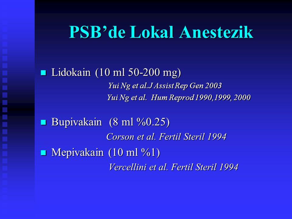 Modifiye Paraservikal Blok Lokal anestezik enjeksiyonu Seviksin saat 3-9 kadranlarından 5'er mL % 1 Lidokain