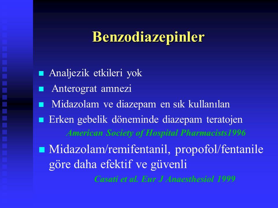 Bilinçli Sedoanaljezide Kullanılan İlaçlar Sedatif/Hipnotikler Sedatif/Hipnotikler  Diazepam  Midazolam  Prometazin  Propofol