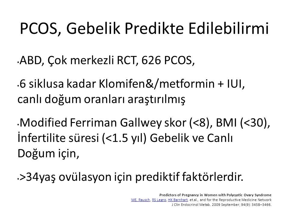 PCOS, Gebelik Predikte Edilebilirmi ABD, Çok merkezli RCT, 626 PCOS, 6 siklusa kadar Klomifen&/metformin + IUI, canlı doğum oranları araştırılmış Modified Ferriman Gallwey skor (<8), BMI (<30), İnfertilite süresi (<1.5 yıl) Gebelik ve Canlı Doğum için, >34yaş ovülasyon için prediktif faktörlerdir.