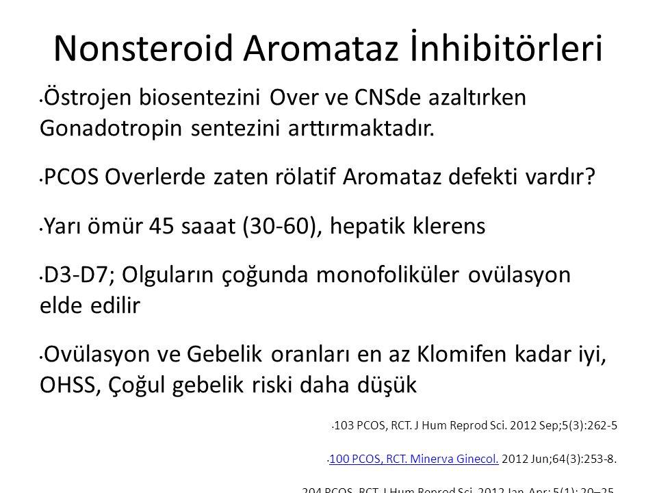 Nonsteroid Aromataz İnhibitörleri Östrojen biosentezini Over ve CNSde azaltırken Gonadotropin sentezini arttırmaktadır.