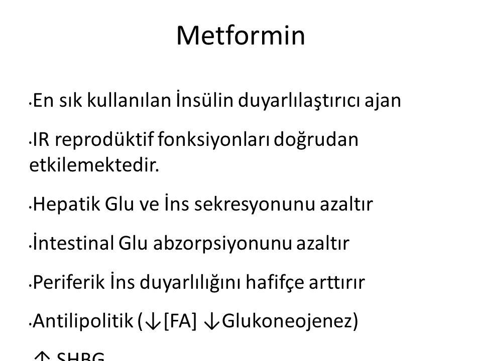 Metformin En sık kullanılan İnsülin duyarlılaştırıcı ajan IR reprodüktif fonksiyonları doğrudan etkilemektedir.