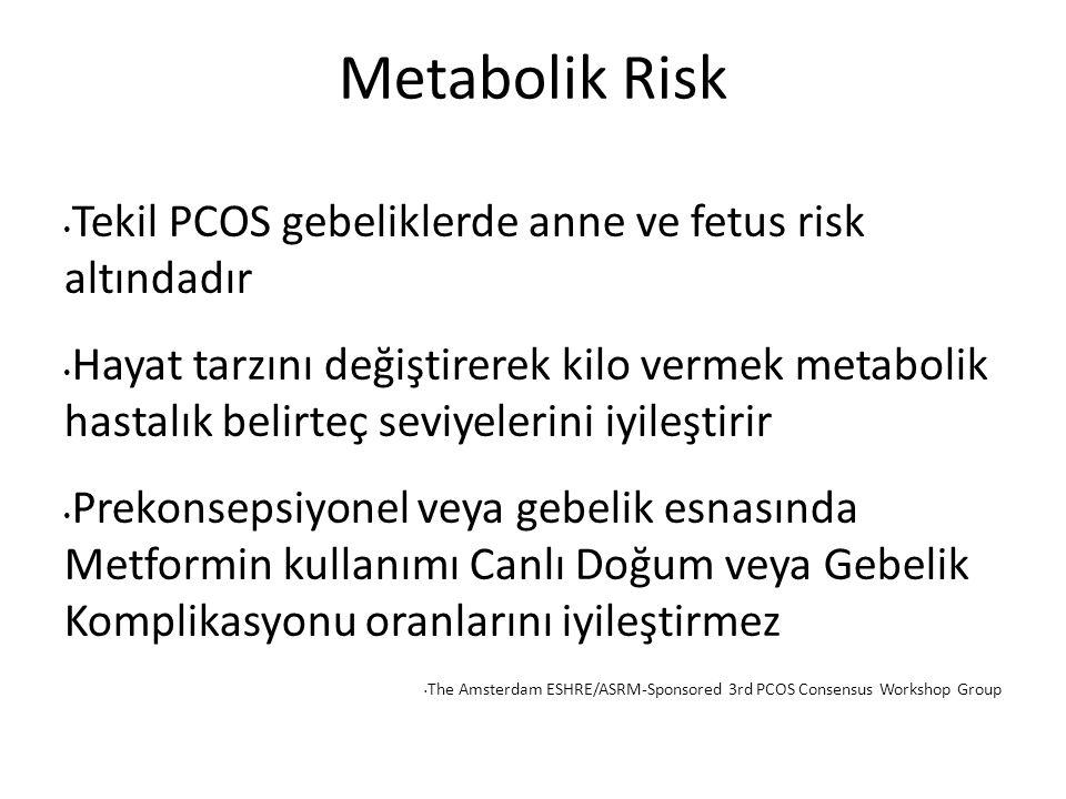 Metabolik Risk Tekil PCOS gebeliklerde anne ve fetus risk altındadır Hayat tarzını değiştirerek kilo vermek metabolik hastalık belirteç seviyelerini iyileştirir Prekonsepsiyonel veya gebelik esnasında Metformin kullanımı Canlı Doğum veya Gebelik Komplikasyonu oranlarını iyileştirmez The Amsterdam ESHRE/ASRM-Sponsored 3rd PCOS Consensus Workshop Group