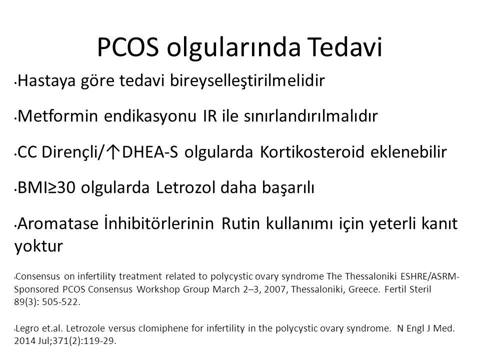 Hastaya göre tedavi bireyselleştirilmelidir Metformin endikasyonu IR ile sınırlandırılmalıdır CC Dirençli/↑DHEA-S olgularda Kortikosteroid eklenebilir BMI≥30 olgularda Letrozol daha başarılı Aromatase İnhibitörlerinin Rutin kullanımı için yeterli kanıt yoktur Consensus on infertility treatment related to polycystic ovary syndrome The Thessaloniki ESHRE/ASRM- Sponsored PCOS Consensus Workshop Group March 2–3, 2007, Thessaloniki, Greece.