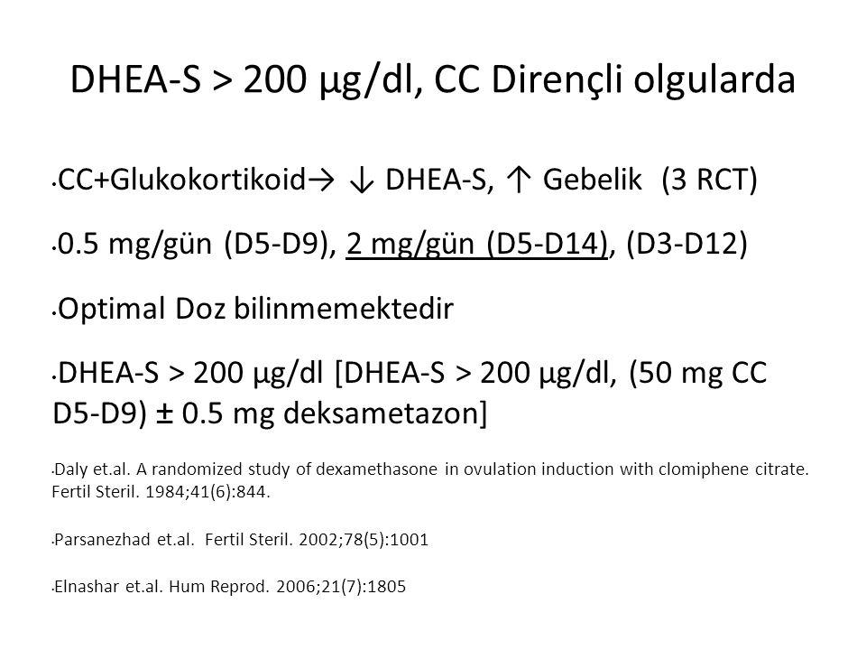 CC+Glukokortikoid→ ↓ DHEA-S, ↑ Gebelik (3 RCT) 0.5 mg/gün (D5-D9), 2 mg/gün (D5-D14), (D3-D12) Optimal Doz bilinmemektedir DHEA-S > 200 µg/dl [DHEA-S > 200 µg/dl, (50 mg CC D5-D9) ± 0.5 mg deksametazon] Daly et.al.