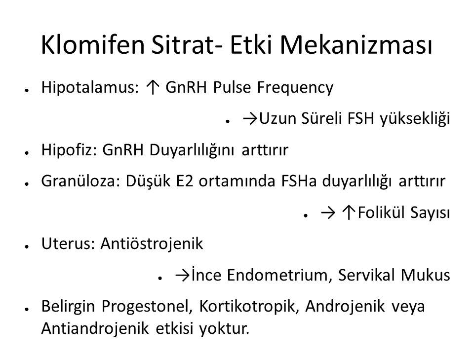 Klomifen Sitrat- Etki Mekanizması ● Hipotalamus: ↑ GnRH Pulse Frequency ● →Uzun Süreli FSH yüksekliği ● Hipofiz: GnRH Duyarlılığını arttırır ● Granüloza: Düşük E2 ortamında FSHa duyarlılığı arttırır ● → ↑Folikül Sayısı ● Uterus: Antiöstrojenik ● →İnce Endometrium, Servikal Mukus ● Belirgin Progestonel, Kortikotropik, Androjenik veya Antiandrojenik etkisi yoktur.