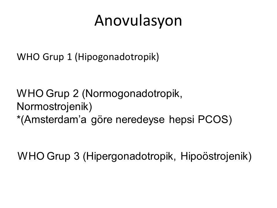 Anovulasyon WHO Grup 1 (Hipogonadotropik) WHO Grup 2 (Normogonadotropik, Normostrojenik) *(Amsterdam'a göre neredeyse hepsi PCOS) WHO Grup 3 (Hipergonadotropik, Hipoöstrojenik)