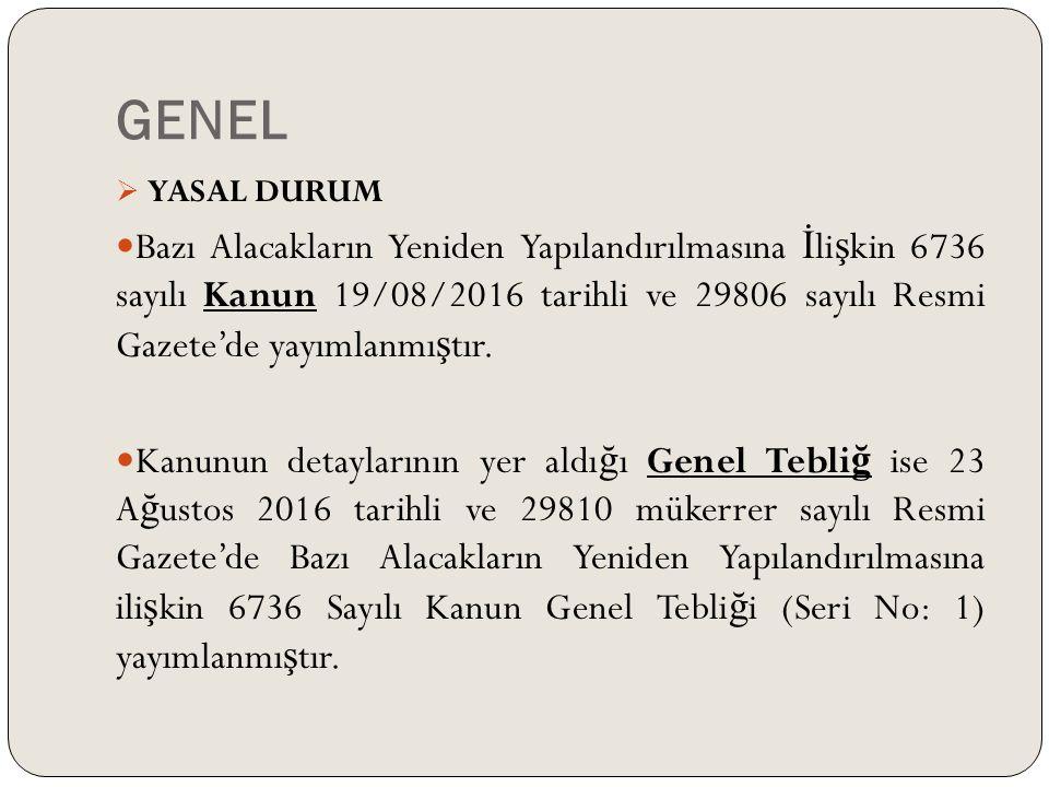 GENEL  YASAL DURUM Bazı Alacakların Yeniden Yapılandırılmasına İ li ş kin 6736 sayılı Kanun 19/08/2016 tarihli ve 29806 sayılı Resmi Gazete'de yayımlanmı ş tır.