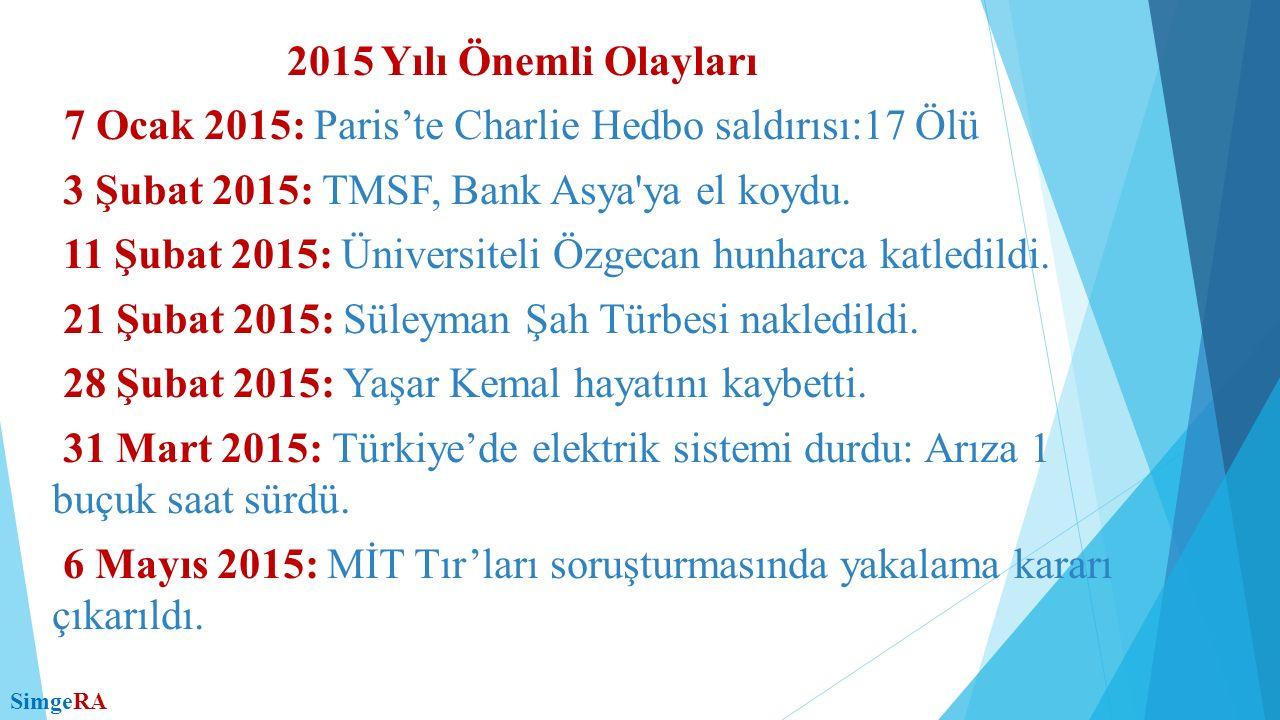 8 Mayıs 2015: Zeki Alasya hayatını kaybetti.9 Mayıs 2015: 7.