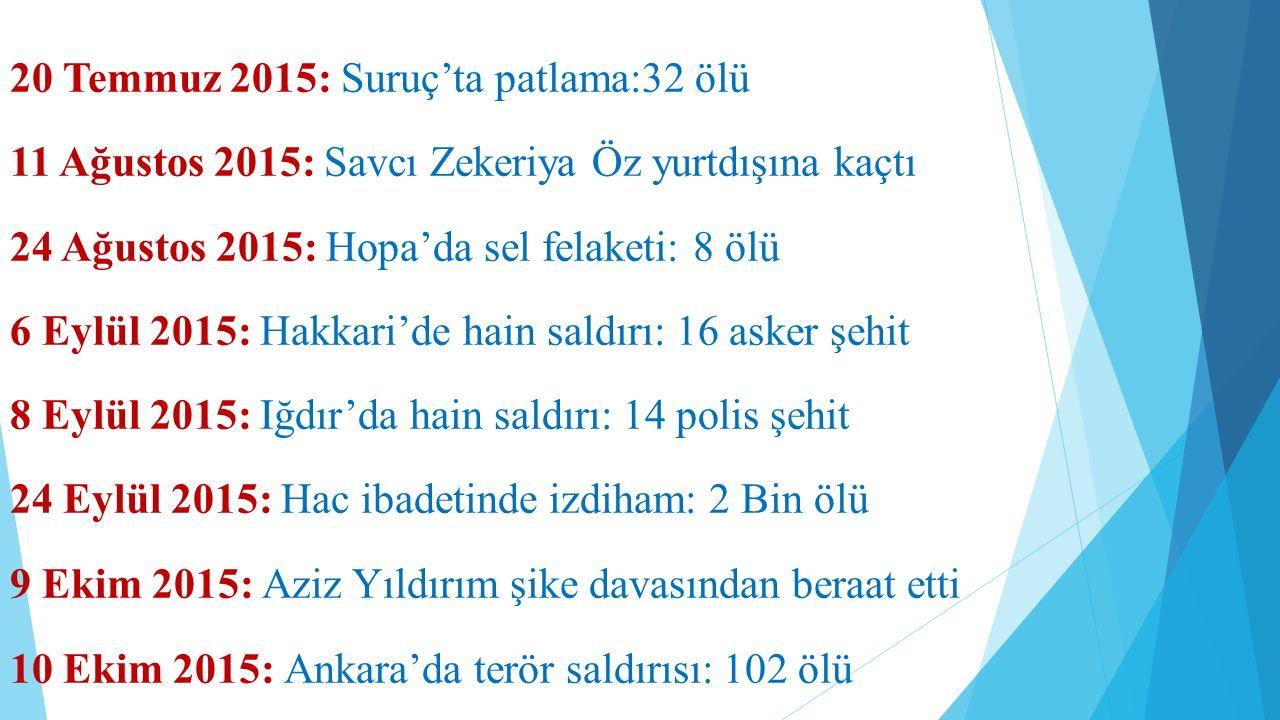 20 Temmuz 2015: Suruç'ta patlama:32 ölü 11 Ağustos 2015: Savcı Zekeriya Öz yurtdışına kaçtı 24 Ağustos 2015: Hopa'da sel felaketi: 8 ölü 6 Eylül 2015: Hakkari'de hain saldırı: 16 asker şehit 8 Eylül 2015: Iğdır'da hain saldırı: 14 polis şehit 24 Eylül 2015: Hac ibadetinde izdiham: 2 Bin ölü 9 Ekim 2015: Aziz Yıldırım şike davasından beraat etti 10 Ekim 2015: Ankara'da terör saldırısı: 102 ölü