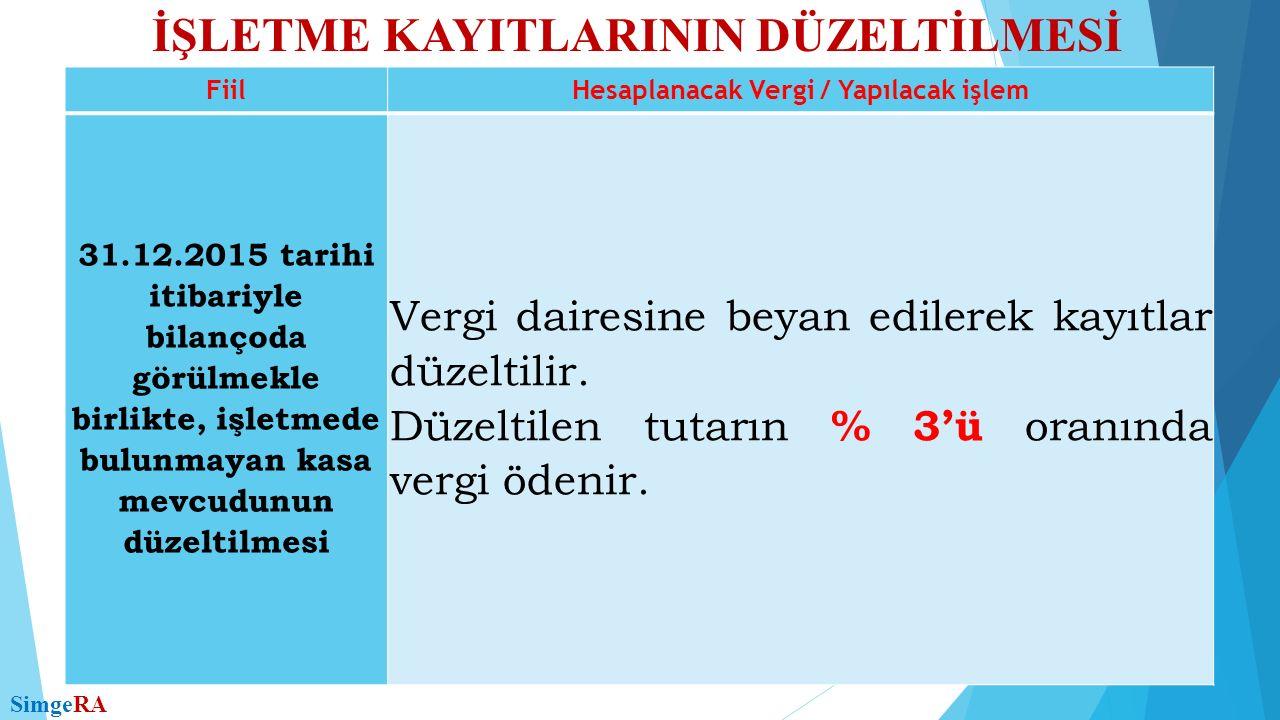İŞLETME KAYITLARININ DÜZELTİLMESİ SimgeRA FiilHesaplanacak Vergi / Yapılacak işlem 31.12.2015 tarihi itibariyle bilançoda görülmekle birlikte, işletme