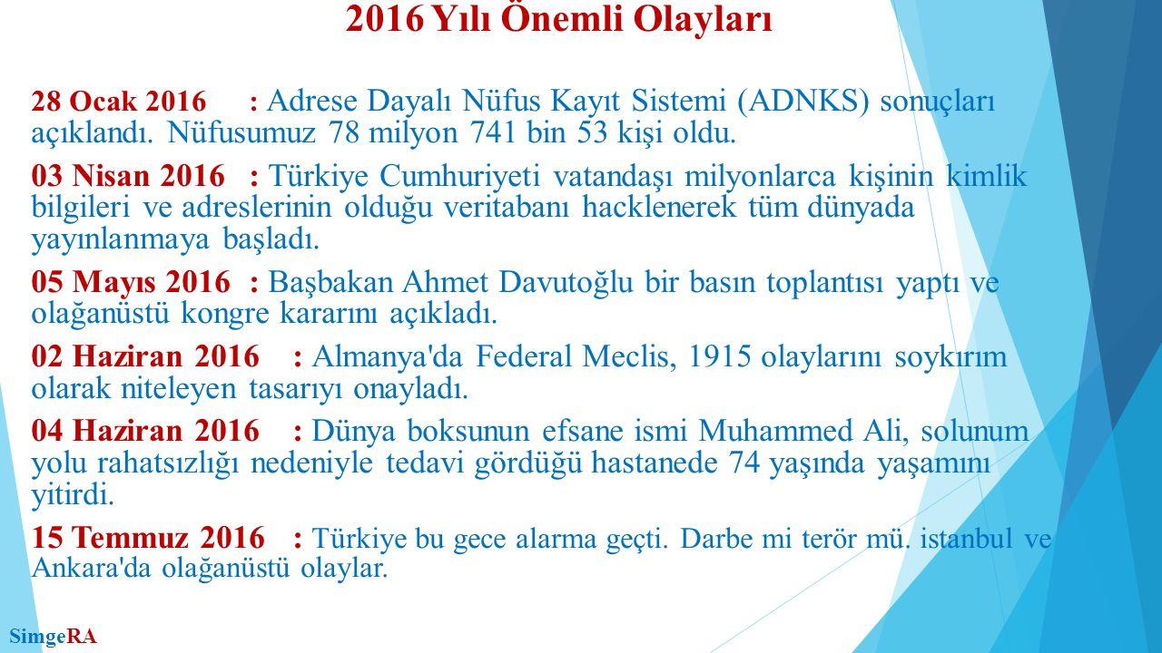 28 Ocak 2016 : Adrese Dayalı Nüfus Kayıt Sistemi (ADNKS) sonuçları açıklandı. Nüfusumuz 78 milyon 741 bin 53 kişi oldu. 03 Nisan 2016: Türkiye Cumhuri
