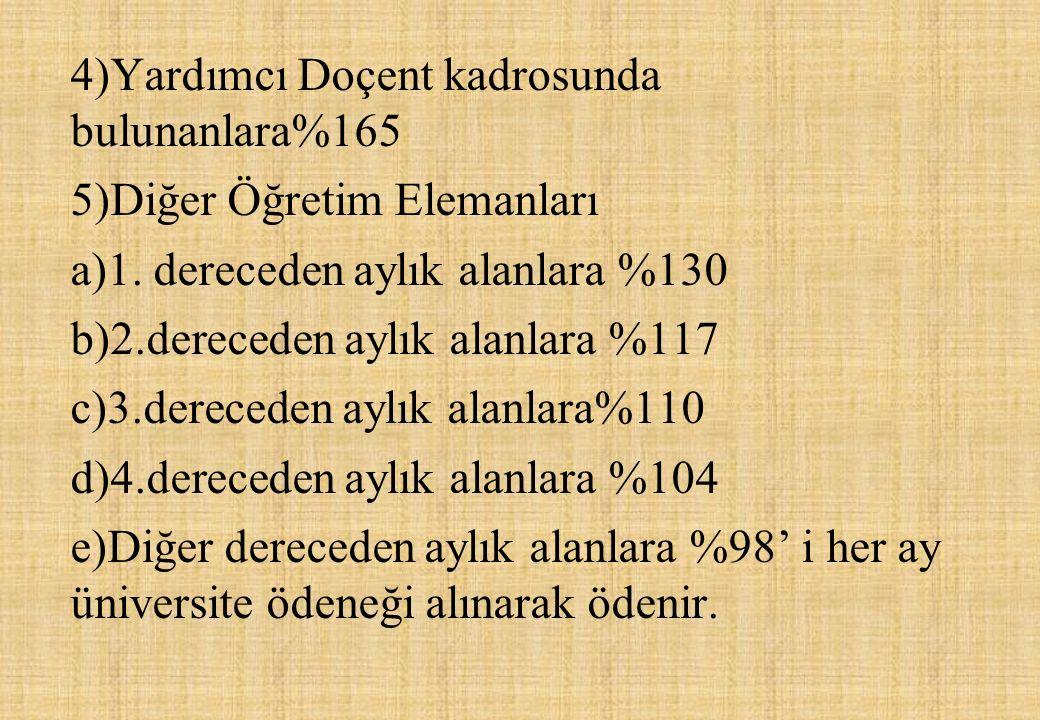 4)Yardımcı Doçent kadrosunda bulunanlara%165 5)Diğer Öğretim Elemanları a)1.