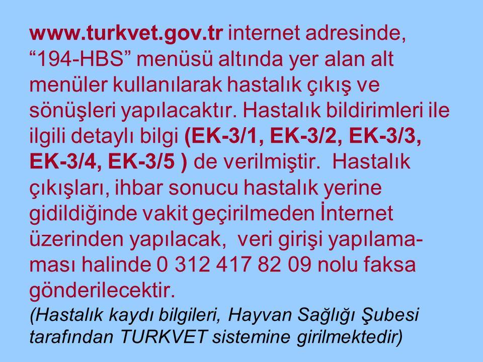 www.turkvet.gov.tr internet adresinde, 194-HBS menüsü altında yer alan alt menüler kullanılarak hastalık çıkış ve sönüşleri yapılacaktır.