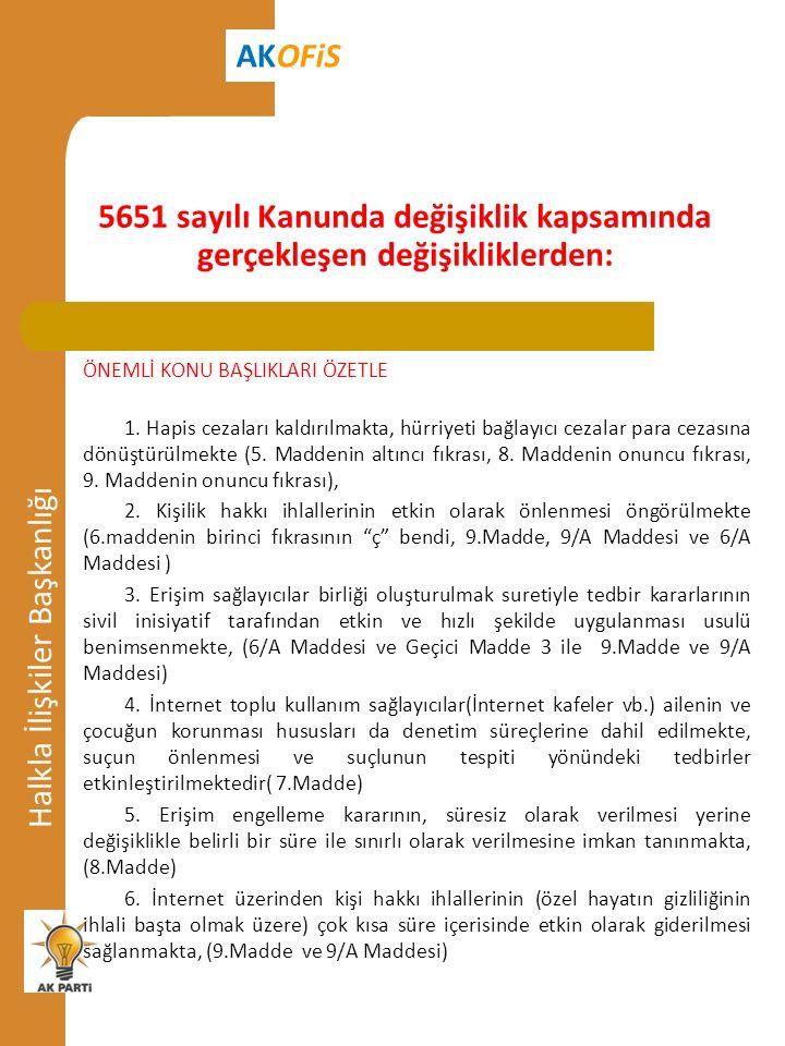 5651 sayılı Kanunda değişiklik kapsamında gerçekleşen değişikliklerden: Halkla İlişkiler Başkanlığı AKOFiS ÖNEMLİ KONU BAŞLIKLARI ÖZETLE 1.