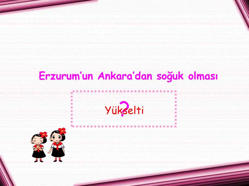 Erzurum'un Ankara'dan soğuk olması Yükselti