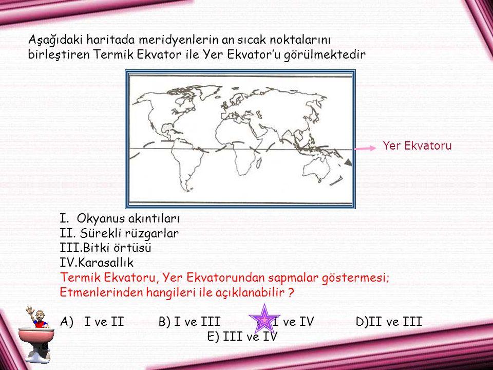 Aşağıdaki haritada meridyenlerin an sıcak noktalarını birleştiren Termik Ekvator ile Yer Ekvator'u görülmektedir I.