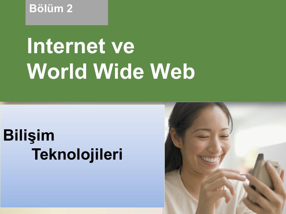 Hedefler Internet in gelişimini öğrenmek Çeşitli geniş bantIı internet bağlantılarını tanımlamak ve kısaca açıklamak ve geniş bantlı internet bağlantıları ile çevirmeli bağlantılar arasındaki farkları belirlemek Internet erişim sağlayıcısı çeşitlerini açıklamak Bir IP adresinin amacını ve bir alan adı ile olan ilişkisini açıklamak Web tarayıcısının amacını açıklamak ve bir Web adresinin bileşenlerini tanımlamak Web üzerinde bilgiyi ararken bir arama motorunun nasıl kullanılacağını açıklamak ve bir arama motoru ile dizinler arasındaki farkları belirtmek 2