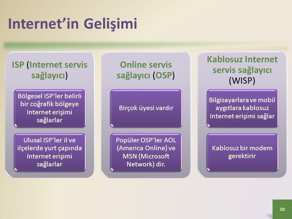 Internet'in Gelişimi ISP (Internet servis sağlayıcı) Bölgesel ISP'ler belirli bir coğrafik bölgeye Internet erişimi sağlarlar Ulusal ISP'ler il ve ilçelerde yurt çapında Internet erişimi sağlarlar Online servis sağlayıcı (OSP) Birçok üyesi vardır Popüler OSP'ler AOL (America Online) ve MSN (Microsoft Network) dir.