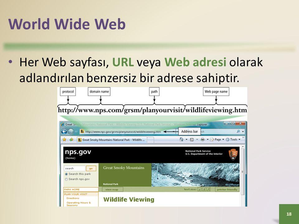 World Wide Web Her Web sayfası, URL veya Web adresi olarak adlandırılan benzersiz bir adrese sahiptir.