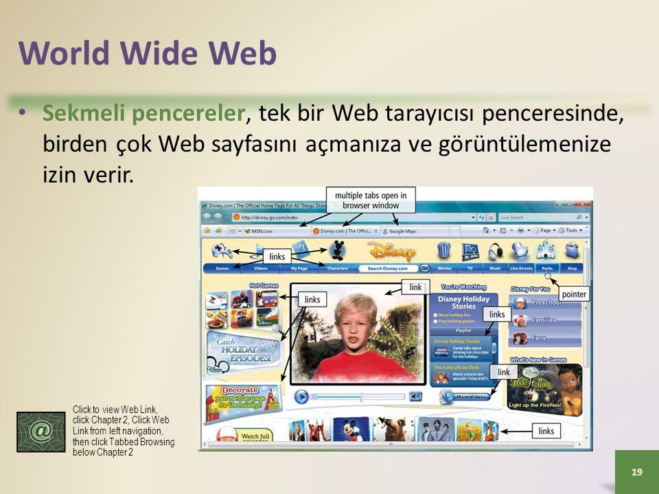 World Wide Web Sekmeli pencereler, tek bir Web tarayıcısı penceresinde, birden çok Web sayfasını açmanıza ve görüntülemenize izin verir.