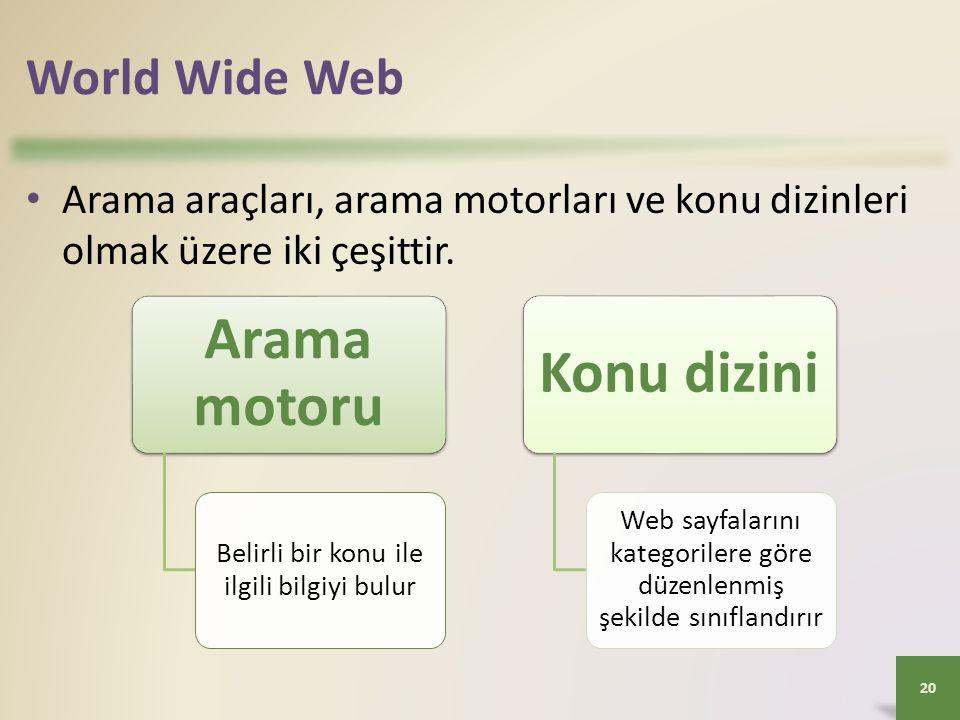 World Wide Web Arama araçları, arama motorları ve konu dizinleri olmak üzere iki çeşittir.