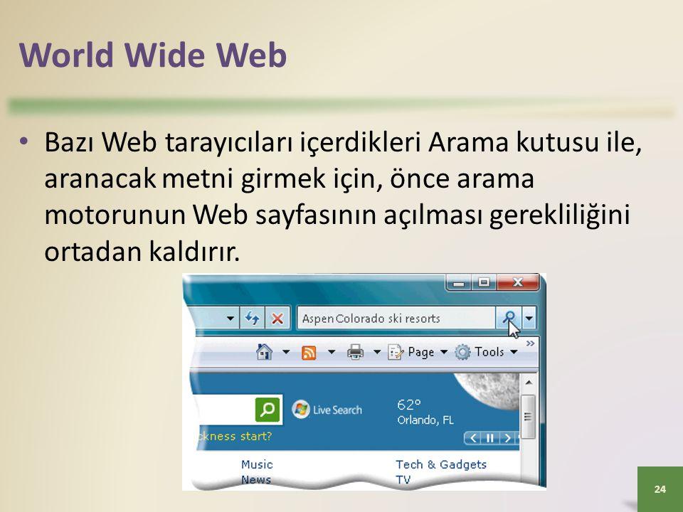 World Wide Web Bazı Web tarayıcıları içerdikleri Arama kutusu ile, aranacak metni girmek için, önce arama motorunun Web sayfasının açılması gerekliliğini ortadan kaldırır.