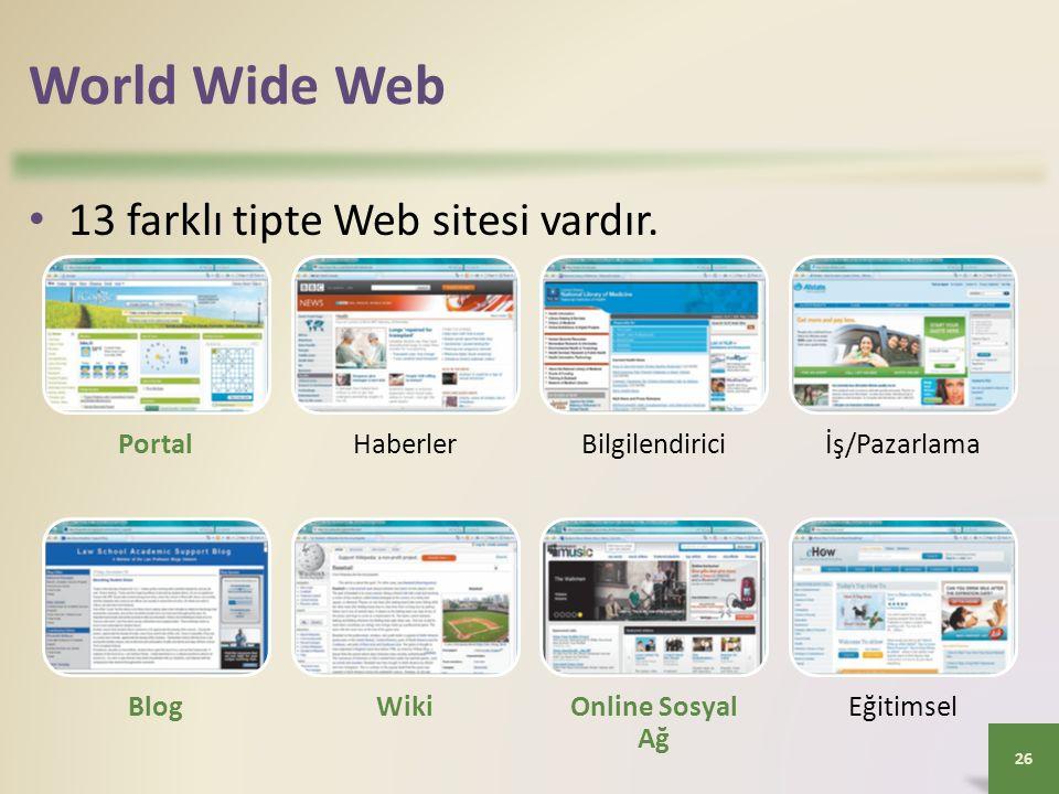 World Wide Web 13 farklı tipte Web sitesi vardır.